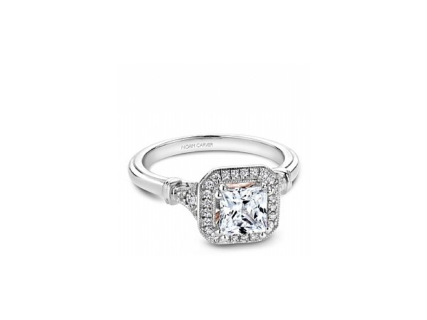 Princess Cut Halo Engagement Ring by Noam Carver
