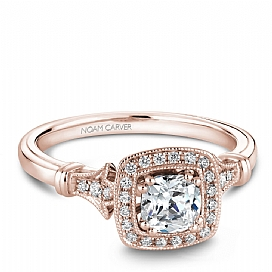 14k RG Cushion Center Halo Engagement Ring by Noam Carver