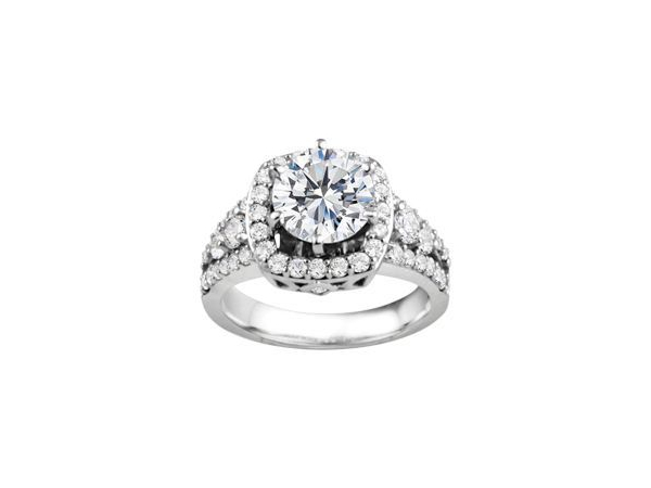 14K WG 3/4 ctw Squared Halo Engagement Ring by True Romance