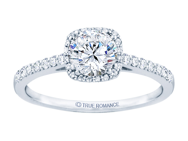 14K WG 1/3 ctw Halo Engagement Ring by True Romance