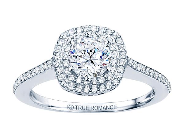 14K WG 1/2 ctw Squared Halo Engagement Ring by True Romance
