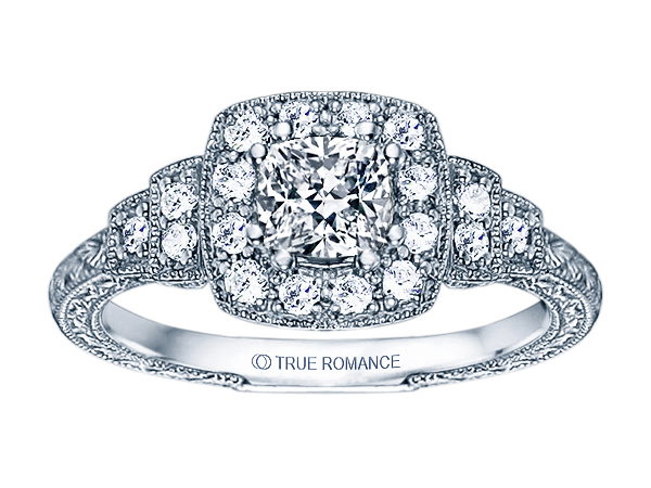 14K WG 1/3ctw Vintage Engraved w/ Milgrain Engagement Ring by True Romance