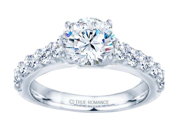 14K WG 3/4 ct Graduated Cathedral Engagement Ring by True Romance