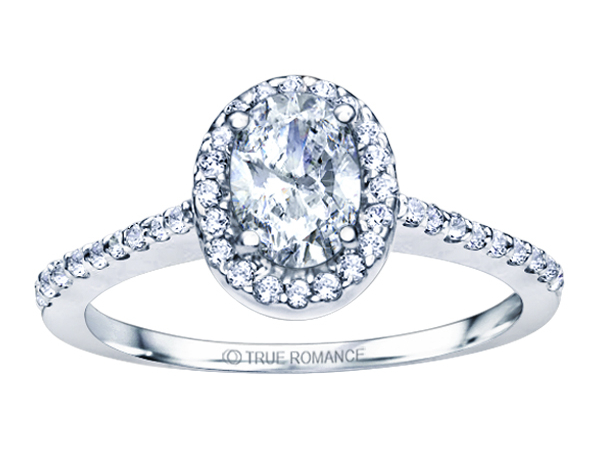 14K WG 1/4 ctw Oval Halo Engagement Ring by True Romance