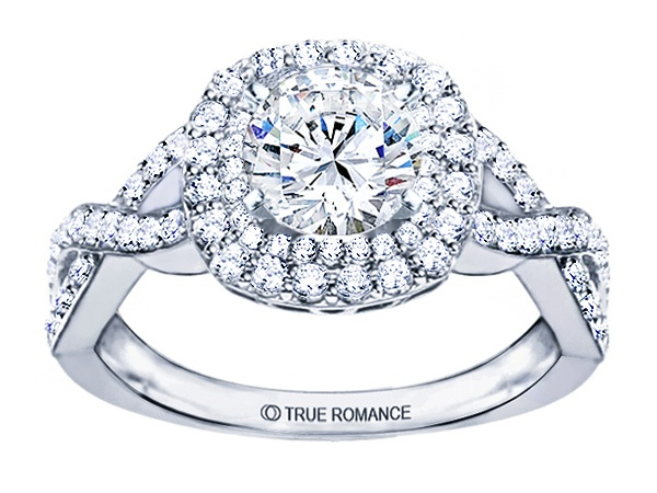 14K WG 7/8 ctw Double Halo Infinity Shank Engagement Ring by True Romance