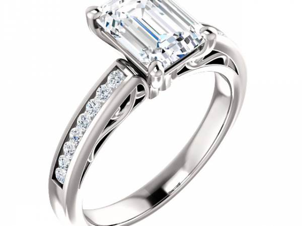 White Gold Engagement Ring with Emerald Cut Center and Channel sides by Stuller