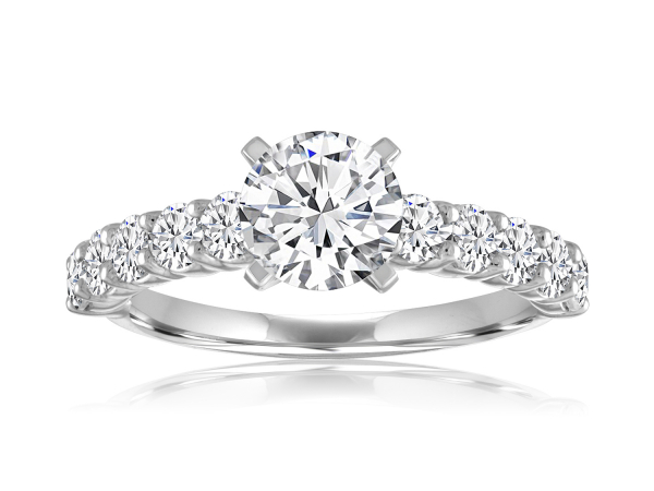 Shared Prong Cathedral Engagement Semi Mount 9/10ctw by Imagine Bridal