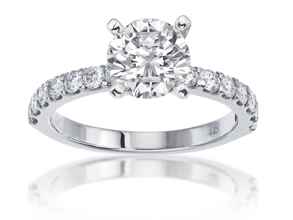 14 Stone Shared Prong Engagement Semi Mount 9/10ctw by Imagine Bridal