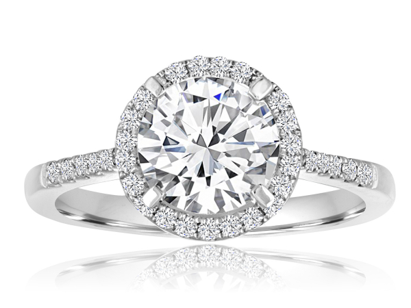 Round Halo Pave Engagement Semi Mount 1/5ctw by Imagine Bridal