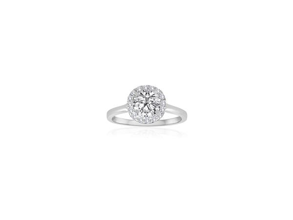 Round Pave Halo Split Shank Engagement Semi Mount 3/8ctw by Imagine Bridal