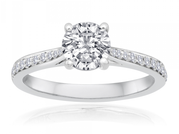 Round Pave Engagement Semi Mount 1/6ctw by Imagine Bridal