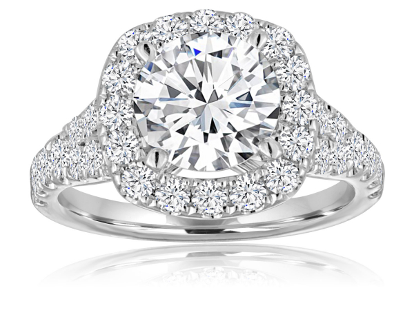 Round Pave Split Shank Cushion Halo Engagement Semi Mount  1.0ctw by Imagine Bridal