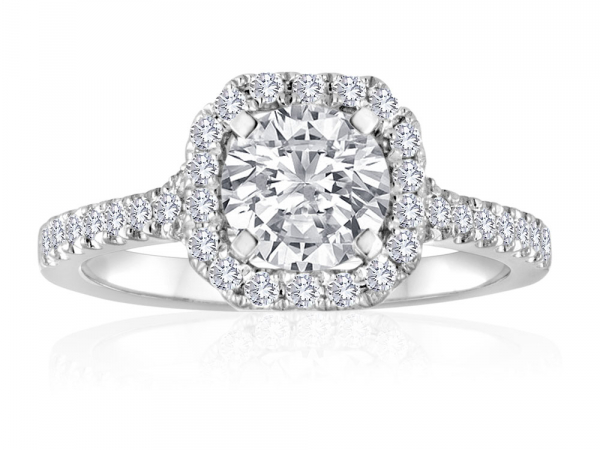 Round Pave Split Shank Engagement Semi Mount 1/6ctw by Imagine Bridal