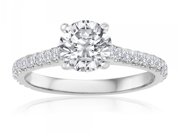 Round Pave Engagement Semi Mount  2/5ctw by Imagine Bridal