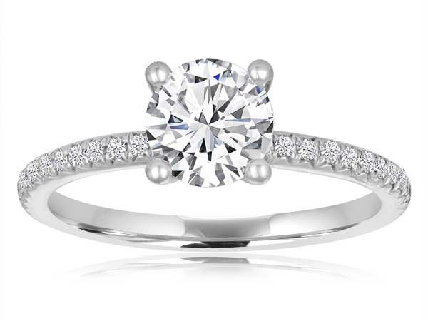 Round Pave Engagement Semi Mount 3/4ctw by Imagine Bridal