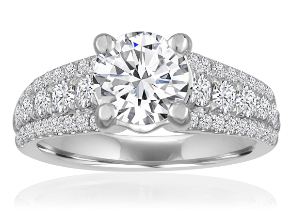 Round Pave Graduated Engagement Semi Mount 3/4ctw by Imagine Bridal