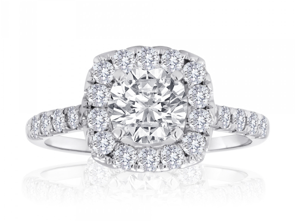 Round Pave Halo Engagement Semi Mount 2/5ctw by Imagine Bridal