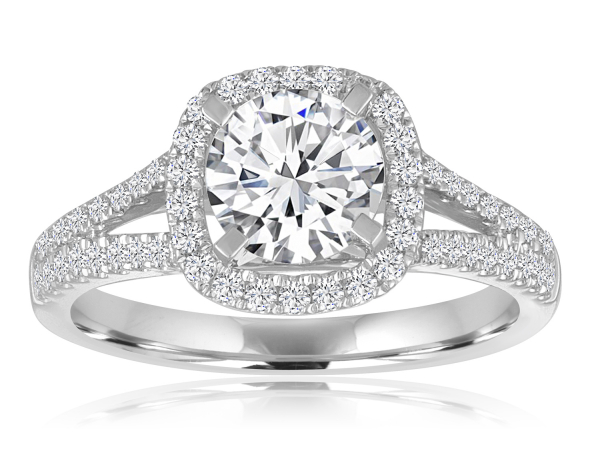 Round Split Shank Cushion Halo Engagement Semi Mount 3/8ctw by Imagine Bridal