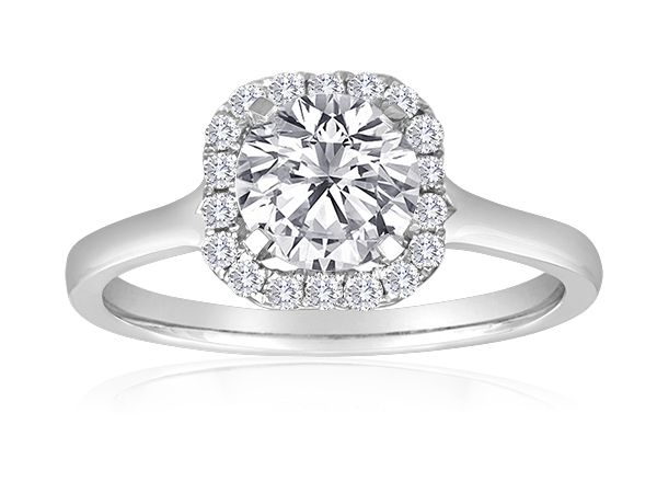 Round Pave Plain Shank Halo Engagement Semi Mount 1/5ctw by Imagine Bridal