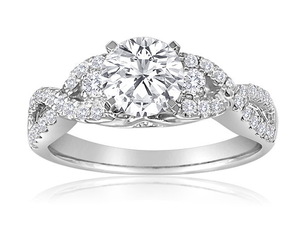 Round Pave Engagement Semi Mount 3/8ctw by Imagine Bridal