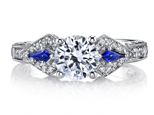 14k White gold Sapphire Semi Mount 1/4ctw by Mars Jewelry