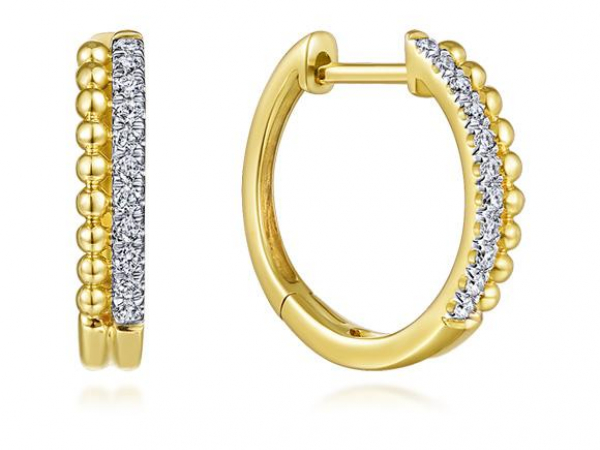 14kt YG Diamond and Bead Small Hoop Earrings 1/10ctw by The Ring