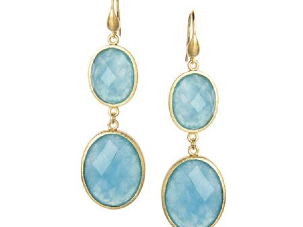 18K Clad Caribbean Blue Quartzite Earrings by Rivka Freidman