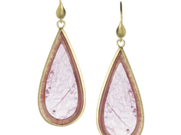 18K Clad Red Quartzite Earrings by Rivka Freidman