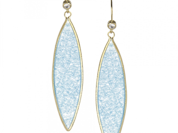 18K Clad Long Caribbean Blue Quartzite Earrings by Rivka Freidman