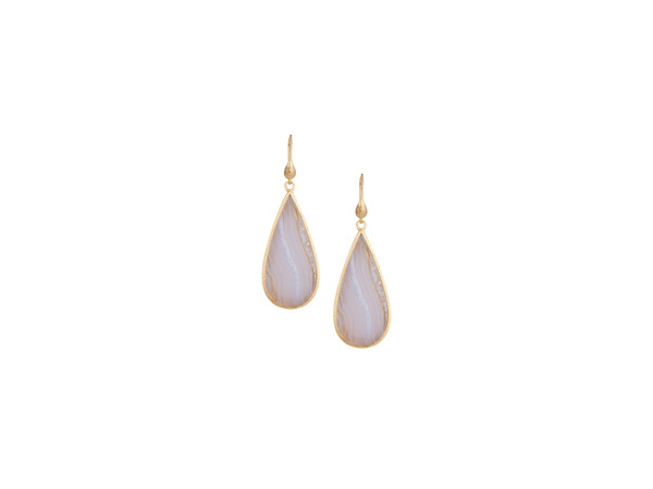 18K Clad Blue Lace Agate Earrings by Rivka Freidman