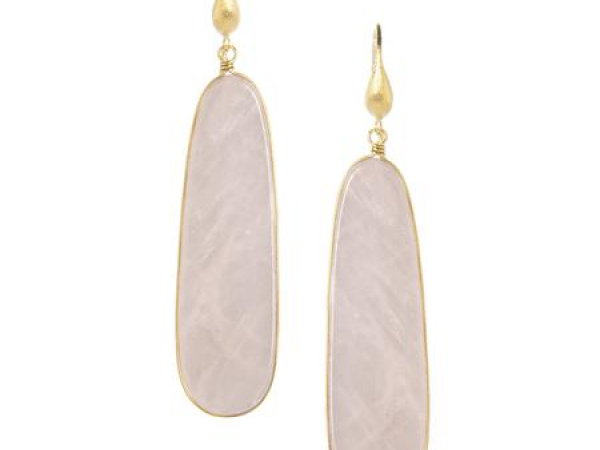 18K Clad Long Rose Quartz Earrings by Rivka Freidman