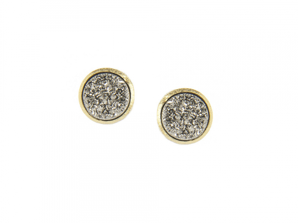 Platinum Clad Druzy Post Earrings by Rivka Freidman
