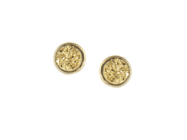 18K YG Clad Gold Druzy Ear Post Earrings by Rivka Freidman