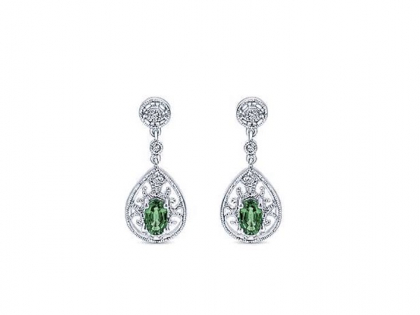 14kt WG Emerald and Diamond Pear Shaped Drop Earrings by The Ring