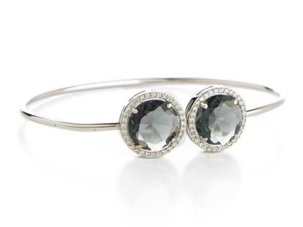 Rhodium Plated Grey Crystal Bangle Bracelet by Rivka Freidman