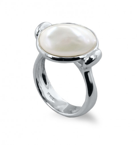 Sterling Round Baroque Coin Pearl Ring by Honora