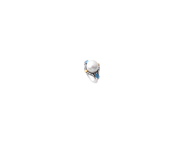 Pearl Ring with Swiss Blue Topaz by Honora