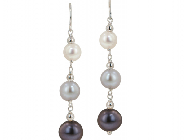 White Gray Black Pearl Dangle Drop Earrings by Honora