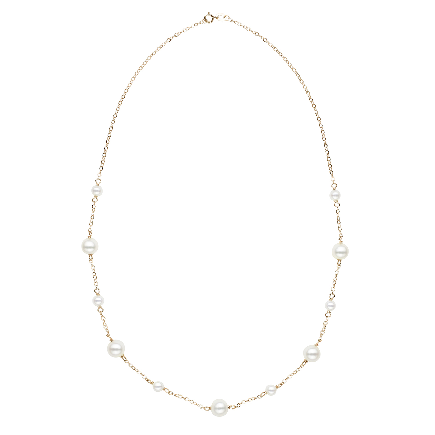"14K Yellow Gold 18"" Pearl Tin Cup Necklace by Honora"