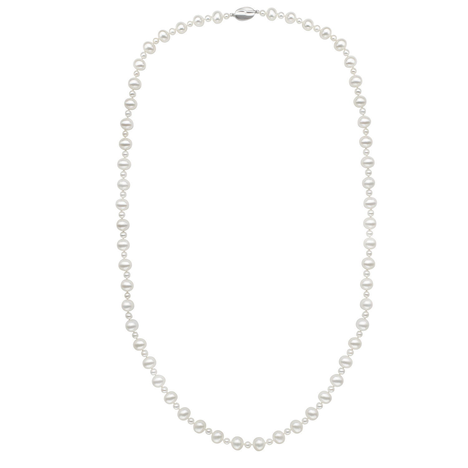 "60"" White Fresh Water Cultured Pearl Necklace by Honora"