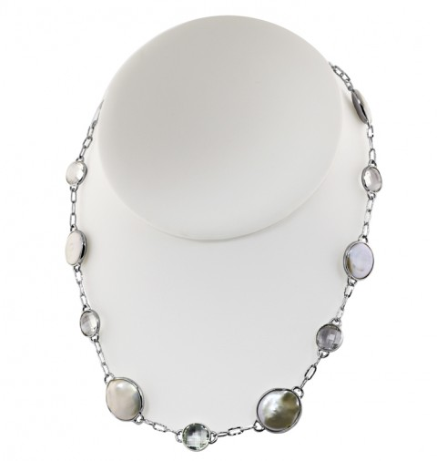 "18"" Crystal and Coin Pearl Necklace by Honora"