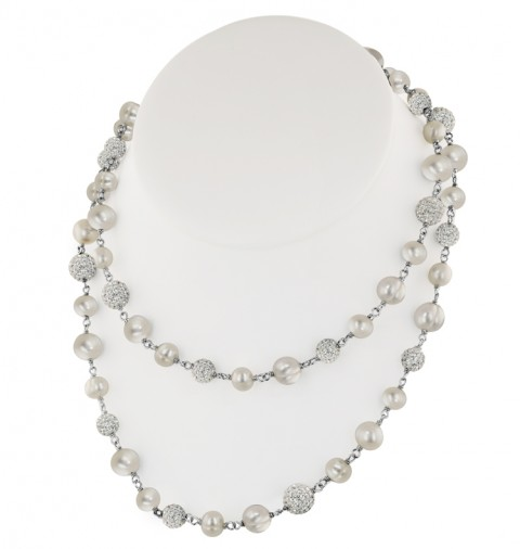 "36"" White Pearl and Crystal Bead Necklace by Honora"
