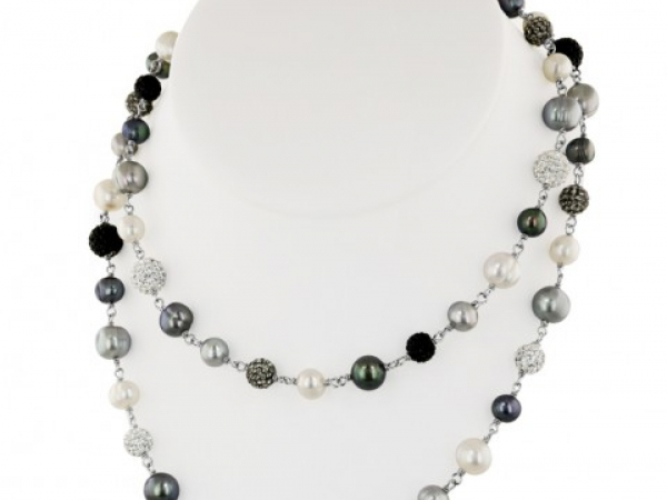 "36"" Black White Gray Pearl and Crystal Bead Necklace by Honora"