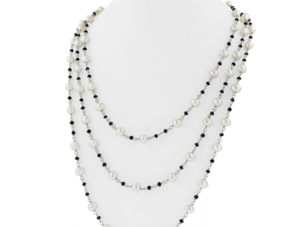 "60"" White Pearl with Black Onyx Necklace by Honora"