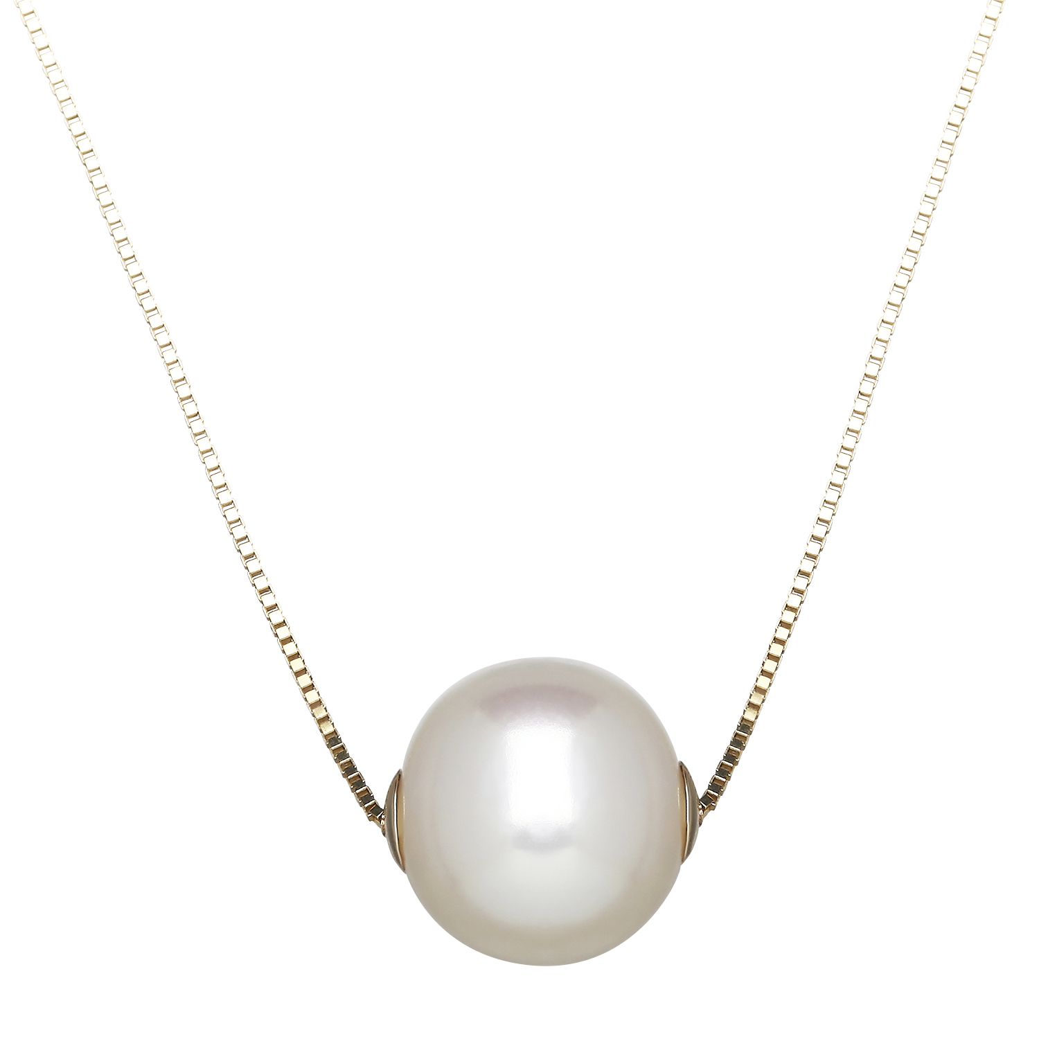 "14K Yellow Gold 18"" Box Chain with Single White Pearl by Honora"