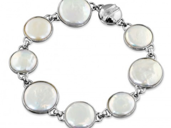 Coin Pearl Bracelet with Magnetic Clasp by Honora