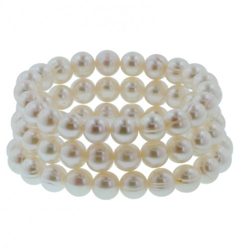Set of Three White Pearl Stretch Bracelets by Honora