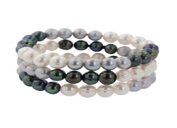 Set of Three Multi Colored Pearl Stretch Bracelets by Honora