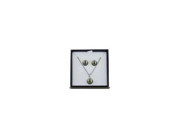 Sterling Set Black Pearl Button Studs & Matching Necklace by Honora