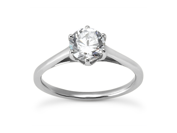 Six Prong Solitaire Engagement Ring by Unique Settings